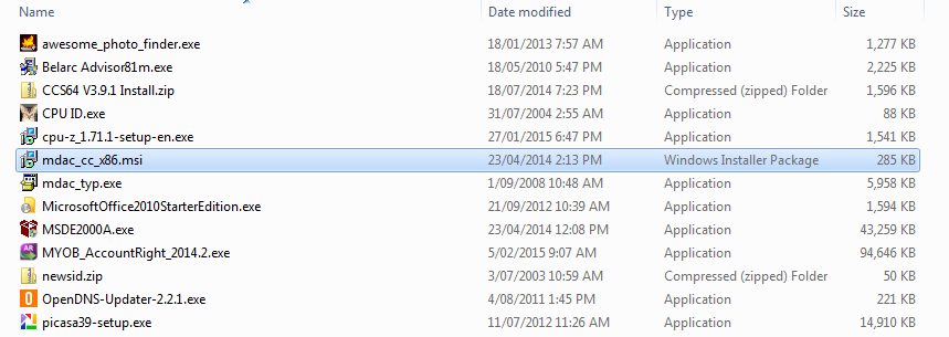 Microsoft Windows Explorer: Photo. Select a single file in details view of various files.