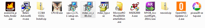 Microsoft Windows Explorer. Single select in Medium Icons view of various files.