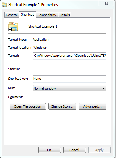 Microsoft Windows folder Shortcut properties on removable drive.